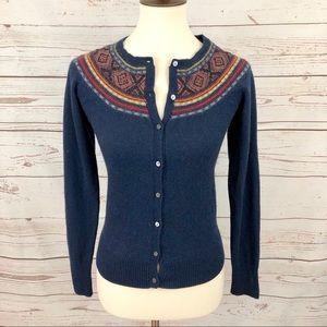 Lucky Brand Beaded Wool Cotton Cardigan